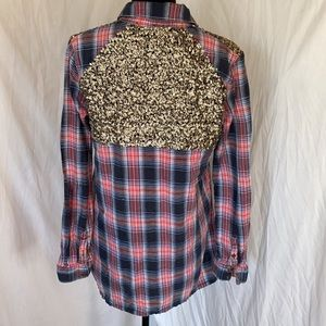 Free People Button Up Flannel Top